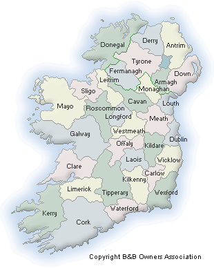Map of Ireland B&Bs